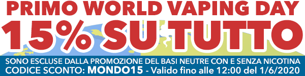 15% di SCONTO su TUTTO IL CATALOGO, in occasione del World Vaping Day, su Vaporoso.it